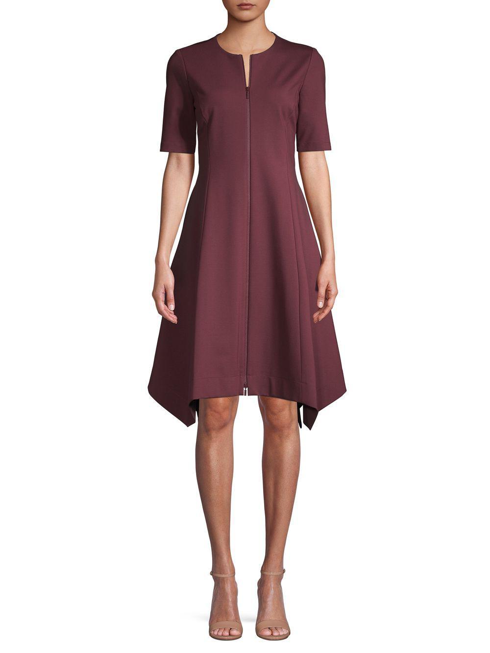 1d0e2e215aa30 Lyst - Lafayette 148 New York Short-sleeve Asymmetric A-line Dress ...