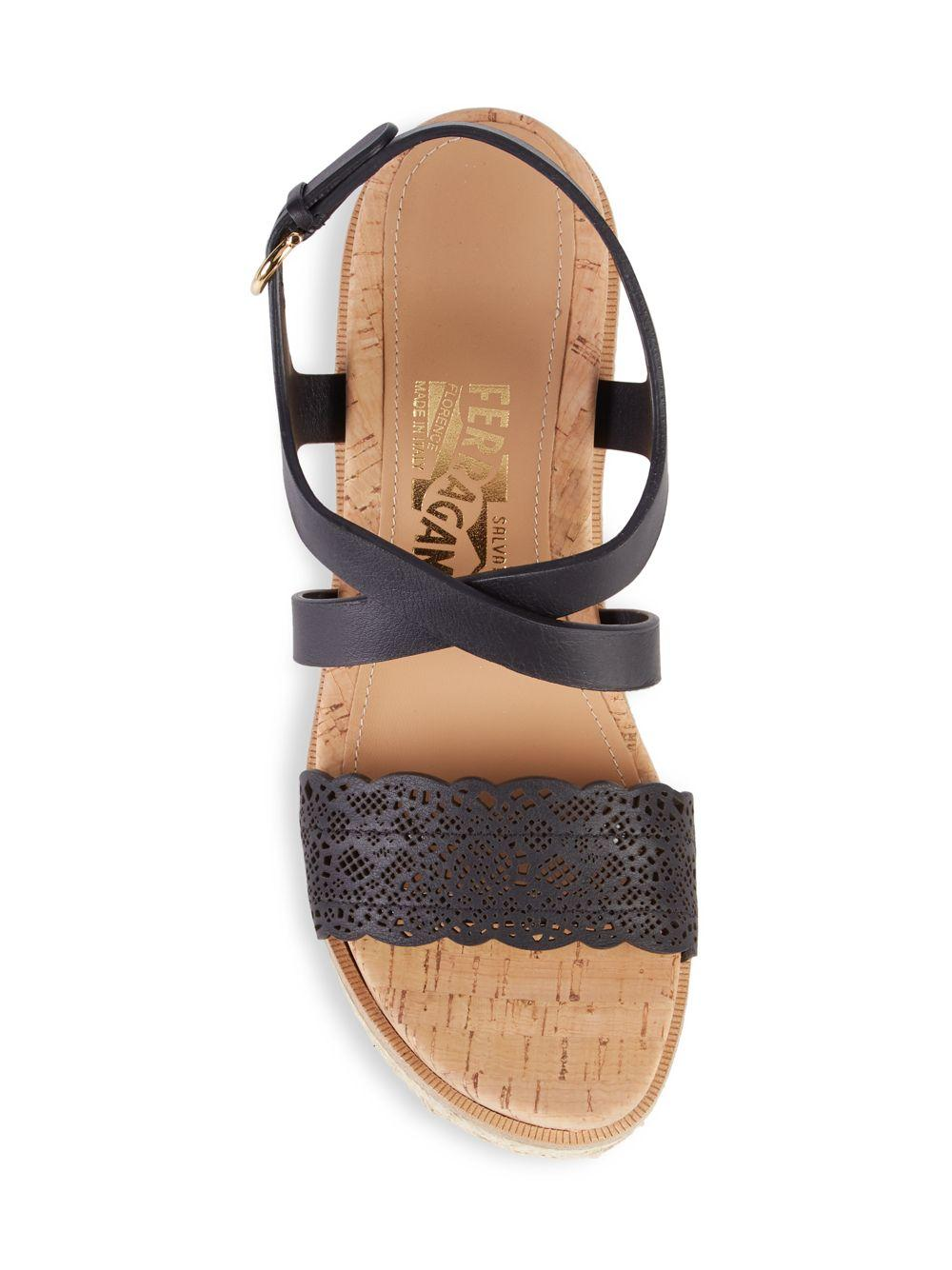 d220cff3382 Ferragamo Gioela Lasercut Wedge Sandals in Black - Lyst