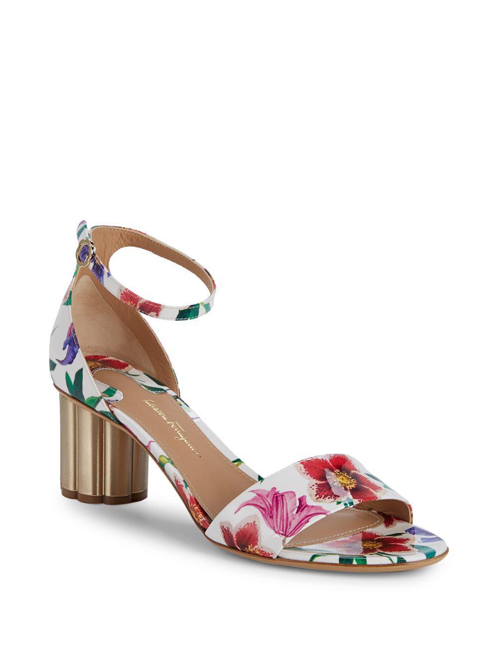 43e66b9f8f3f Ferragamo. Women s Eraclea Floral Patent Leather Sandals