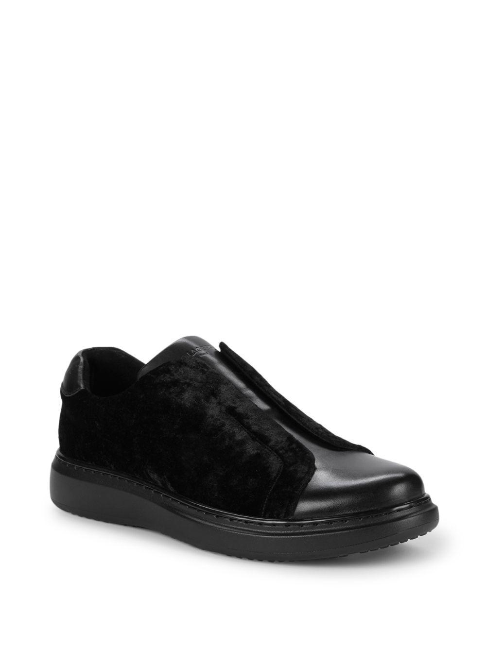 b60a37ca58a8 Lyst - Karl Lagerfeld Leather   Velvet Sneakers in Black for Men