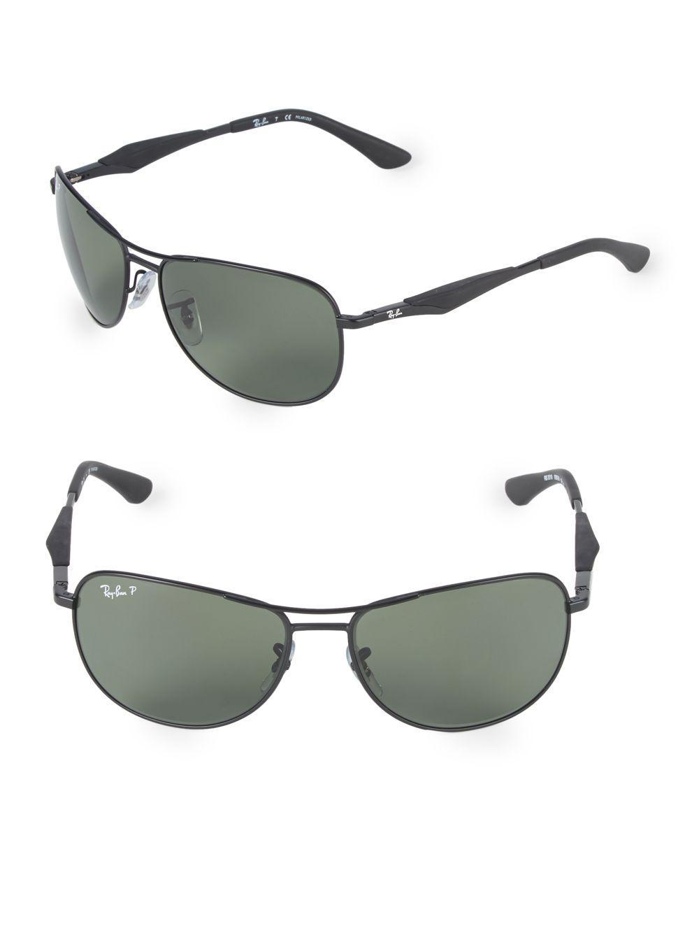 db2eae4bd79 Ray-Ban 59mm Polarized Pilot Sunglasses in Black - Lyst