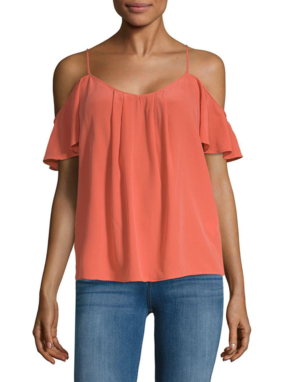 35199e7a508127 Lyst - Joie Adorlee Cold-shoulder Silk Top in Orange