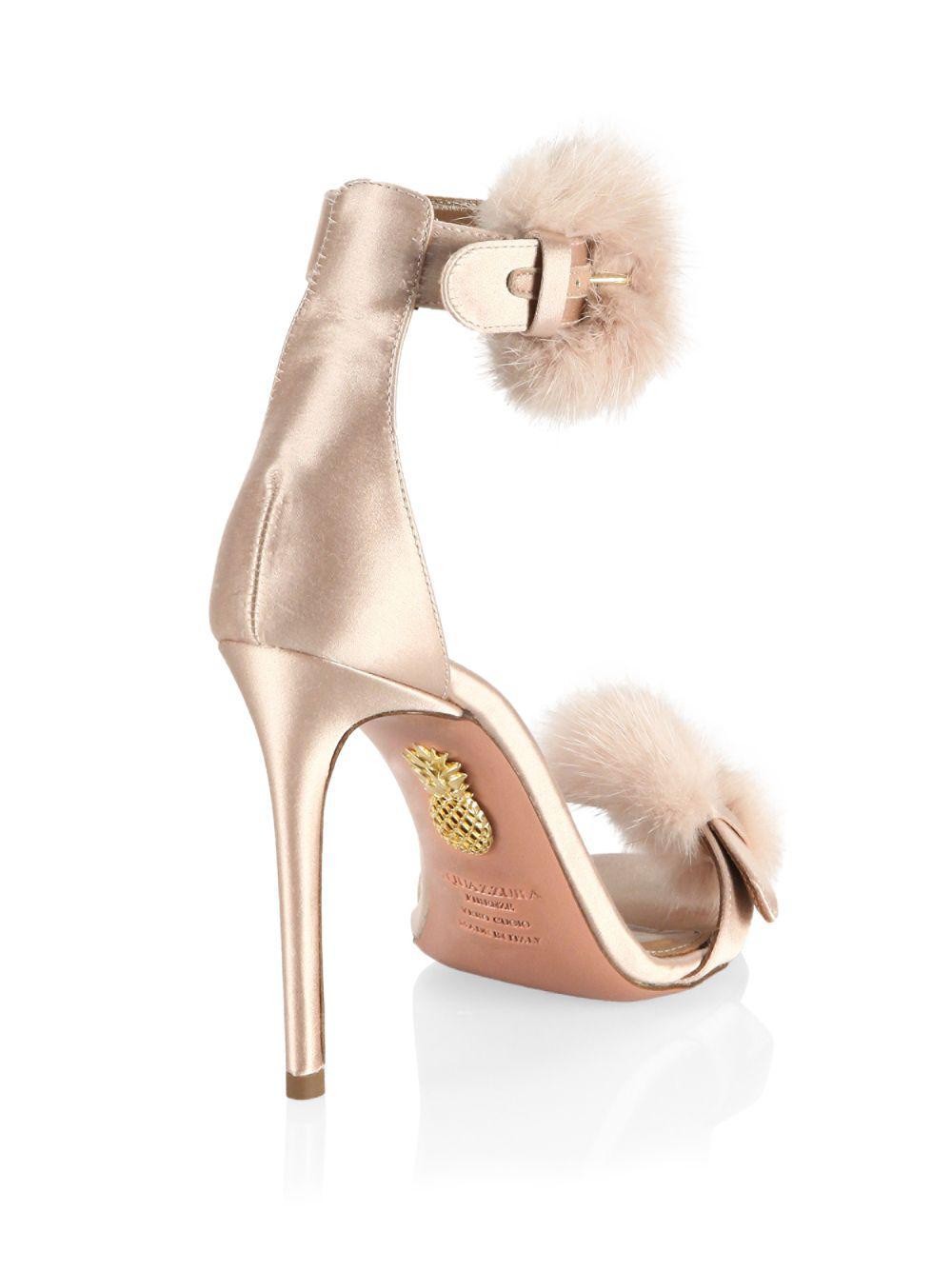 70548a71c20 Lyst - Aquazzura Sinatra Satin   Mink Sandals - Save 10%