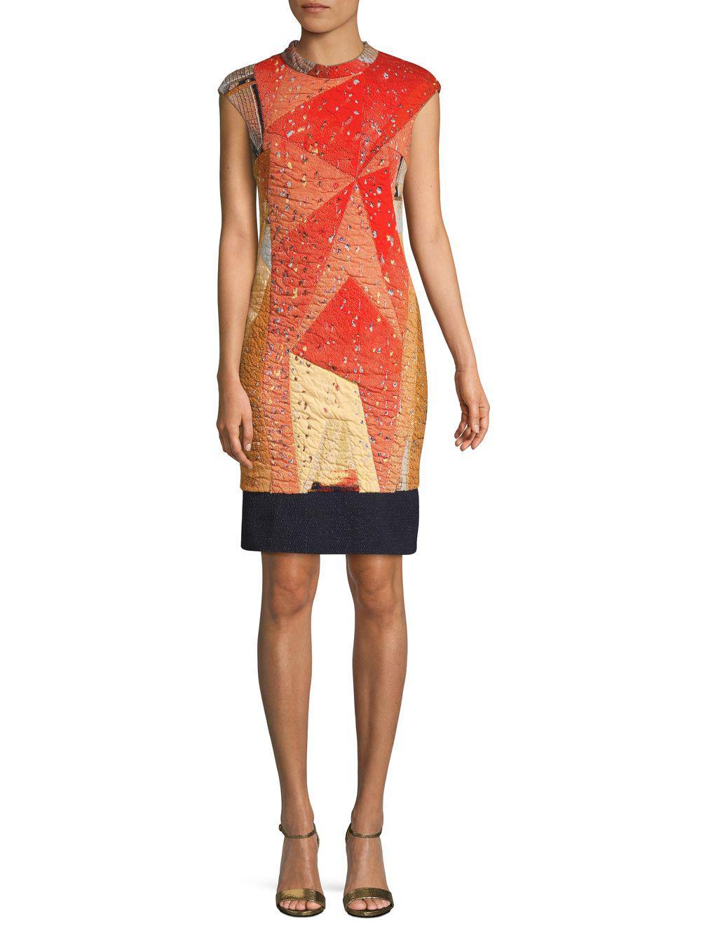 8b60c957d6 Lyst - Akris Punto Geometric-print Cap-sleeve Dress in Orange