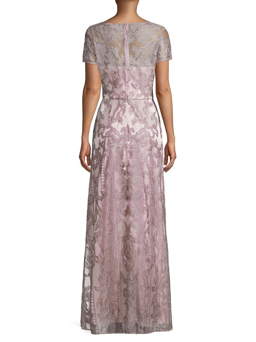 aa2298876a JS Collections - Pink Illusion Embroidered Column Gown - Lyst. View  fullscreen