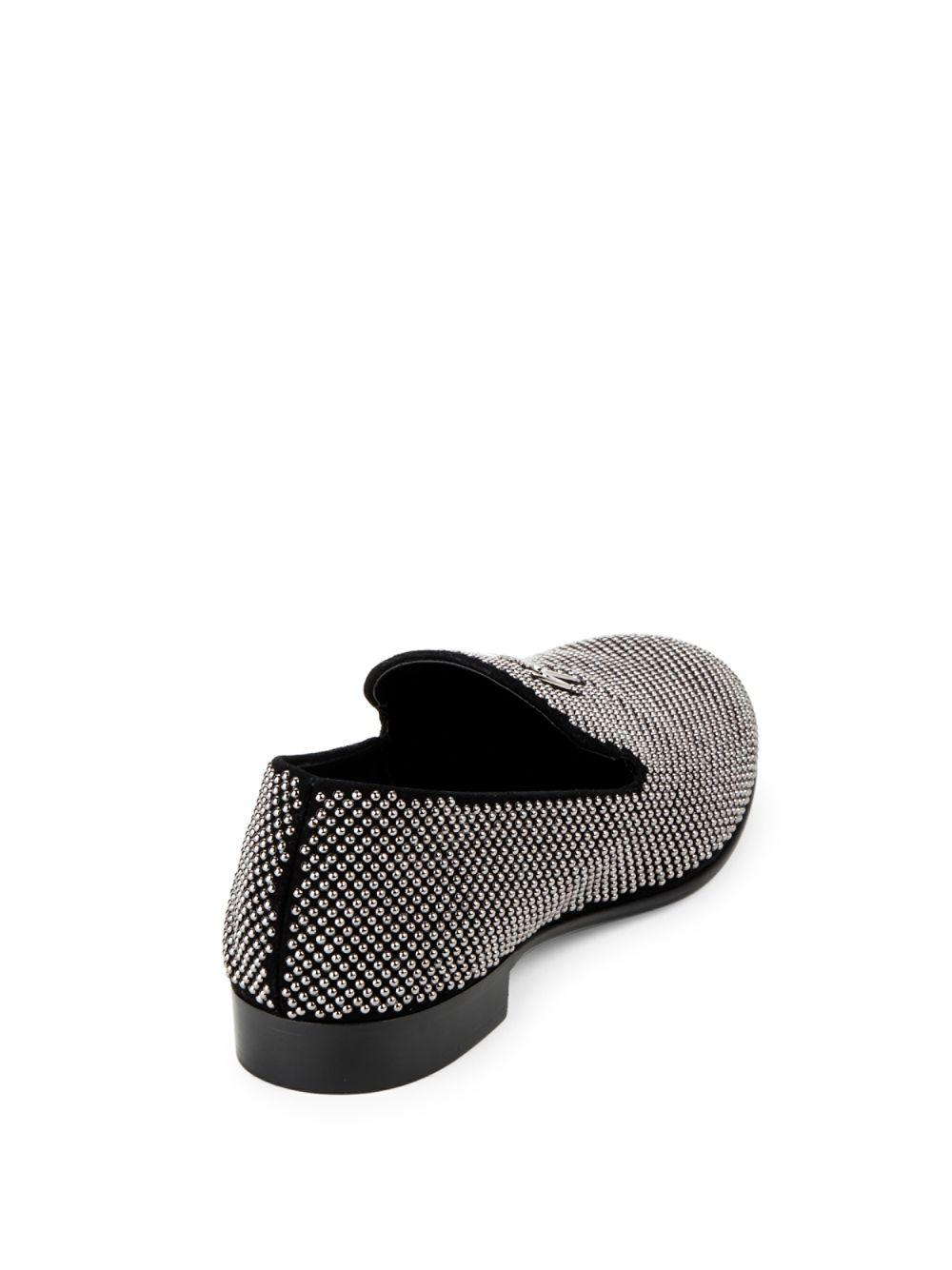 2ef24d898 Lyst - Giuseppe Zanotti Studded Leather Smoking Slippers in Black