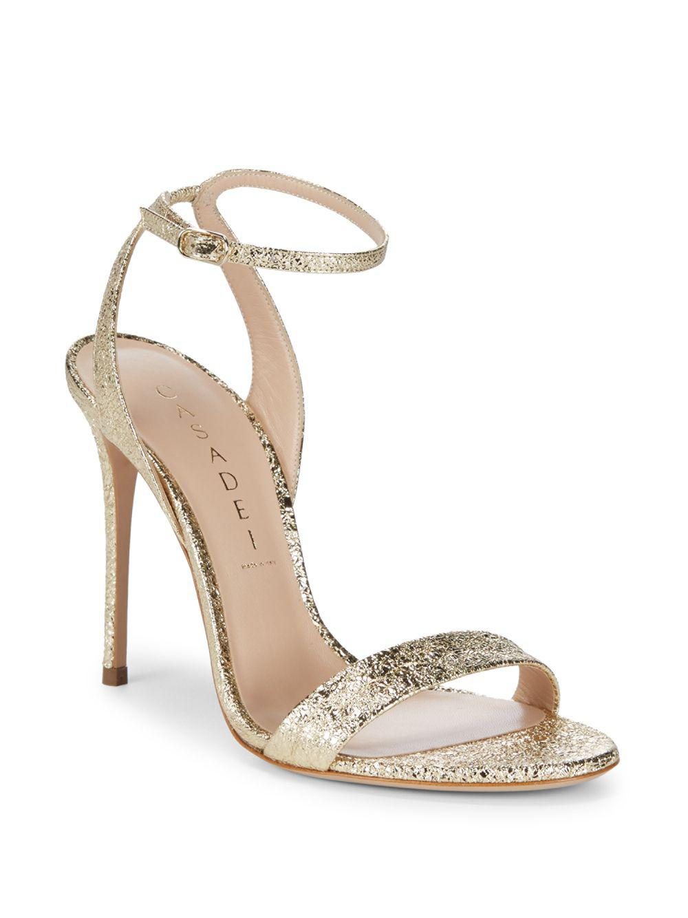e5bc30cde4b Lyst - Casadei Spazio Leather Ankle-strap Sandals