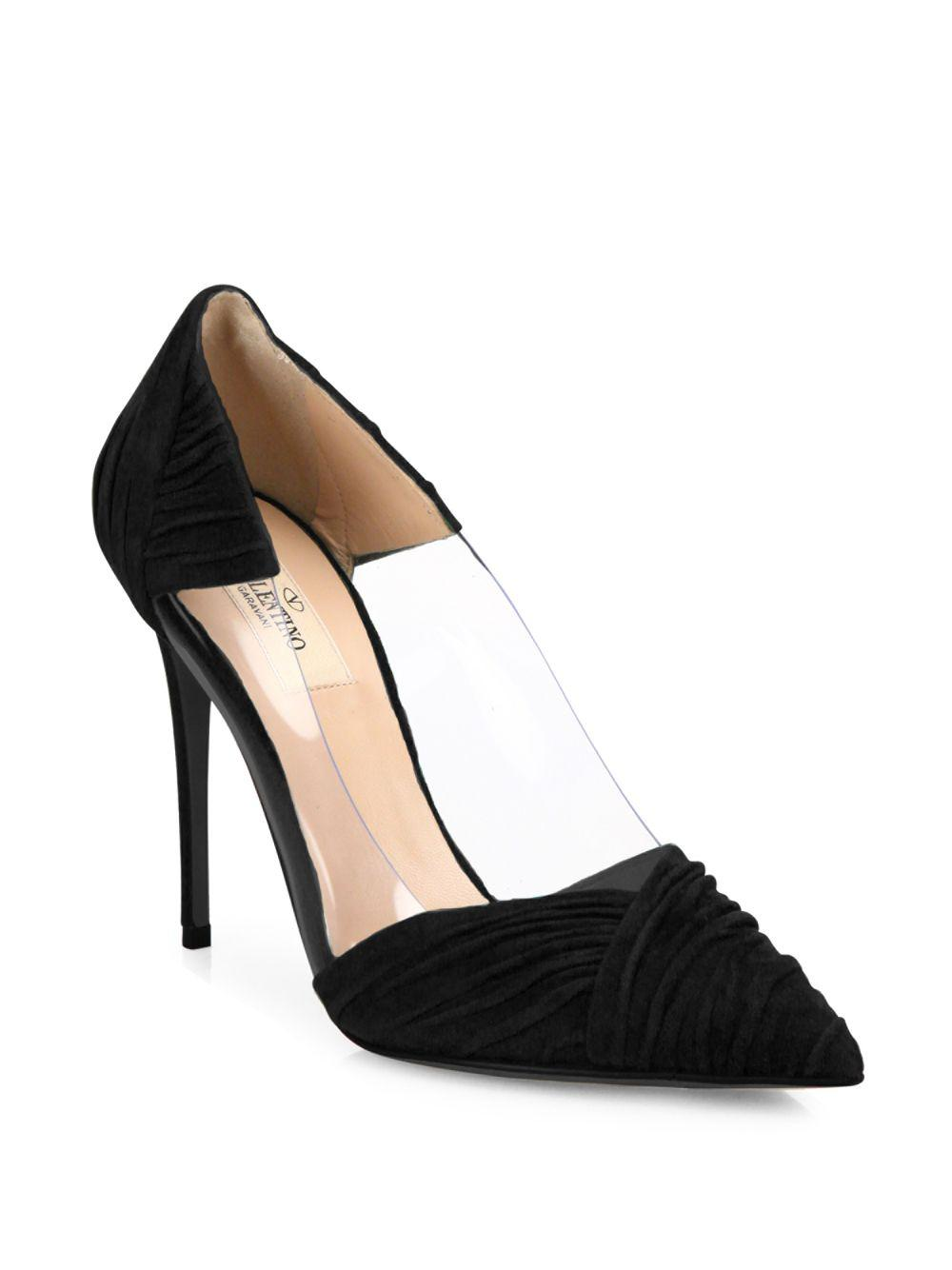 Valentino. Women's Black B-drape Suede Point Toe Pumps