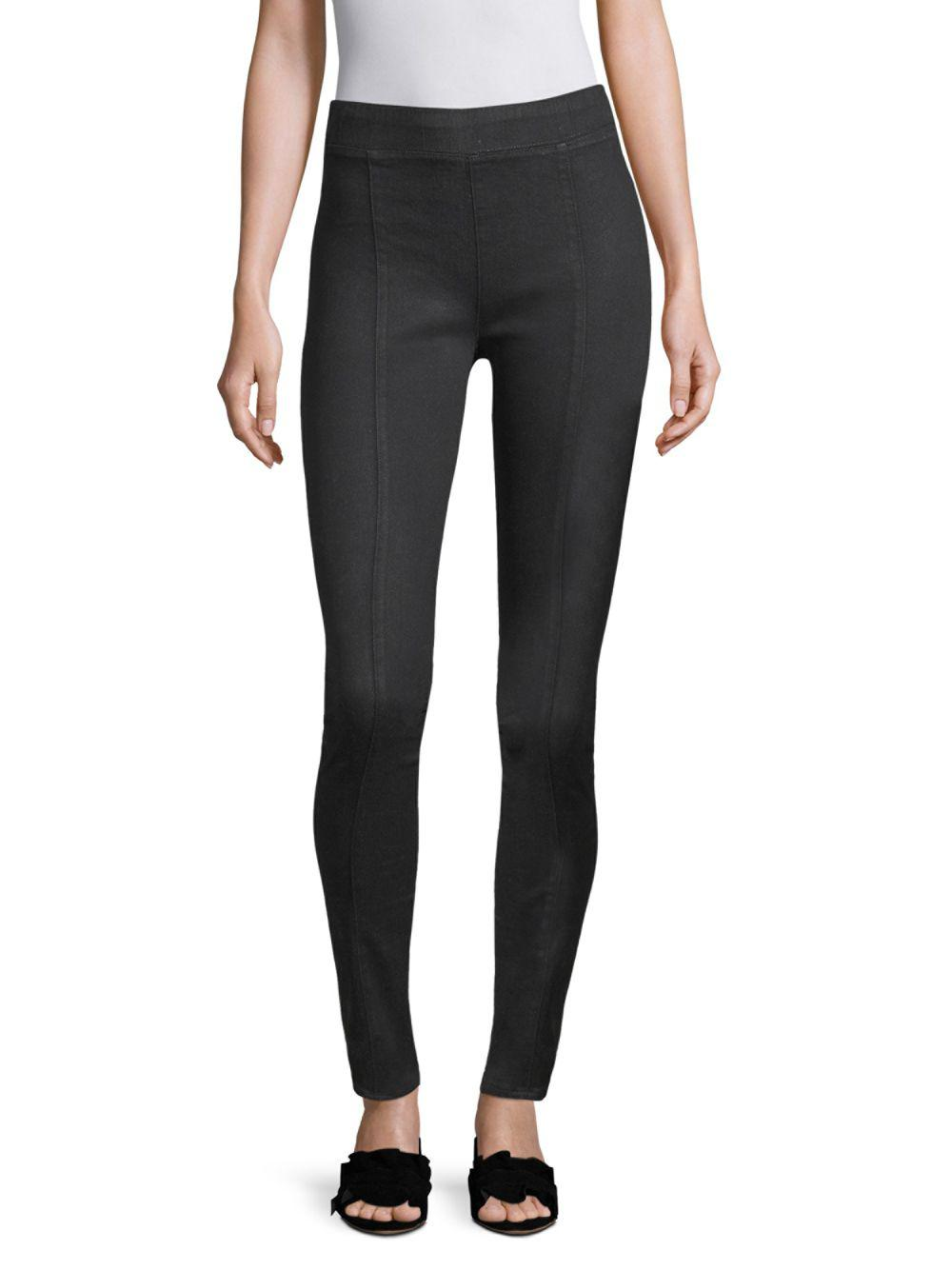 868959d9f0bd04 Lyst - Helmut Lang Seamed Coated Leggings in Black - Save 43%