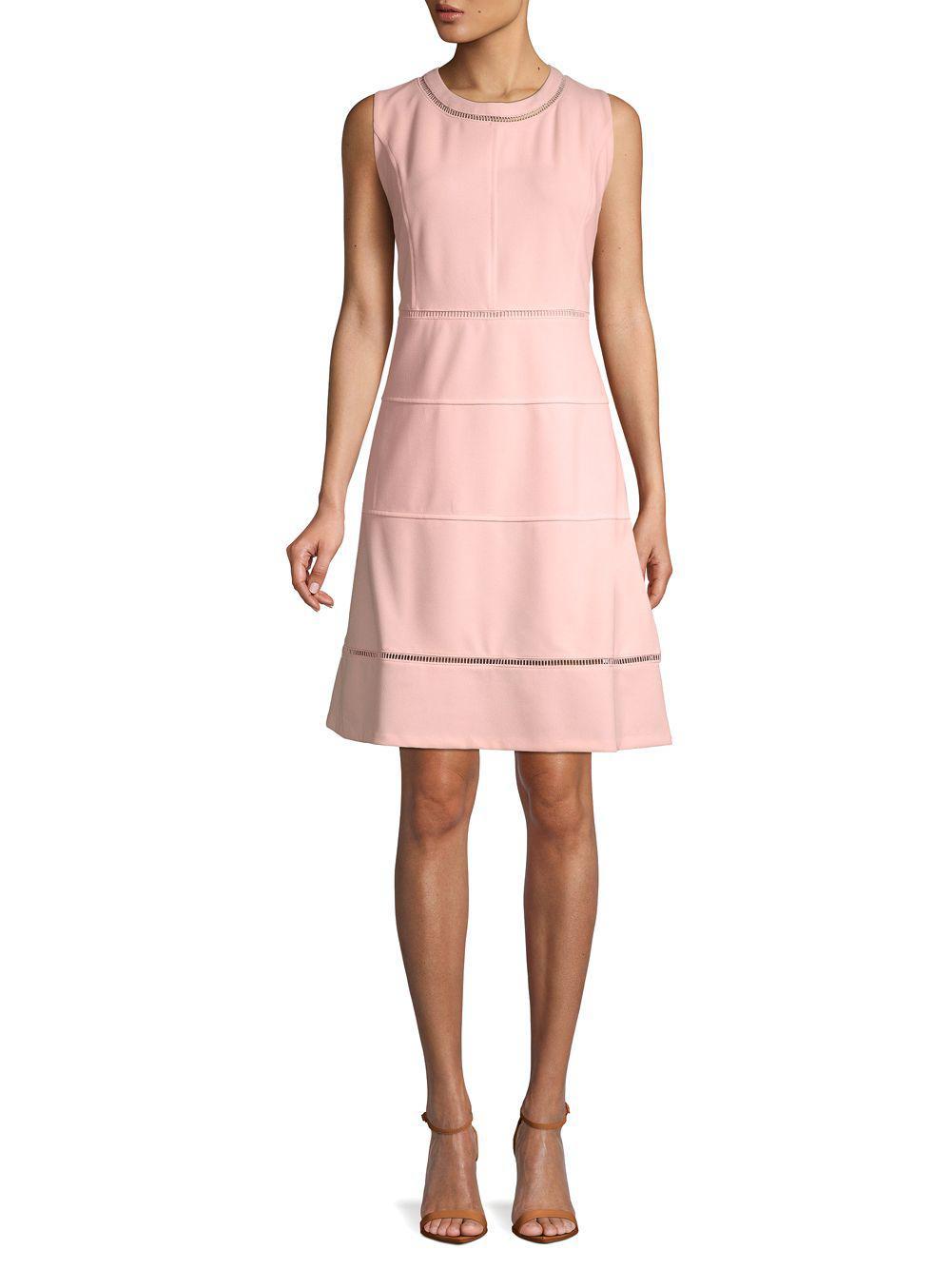 943175c67af Tommy Hilfiger Sleeveless Laser-cut Dress in Pink - Lyst