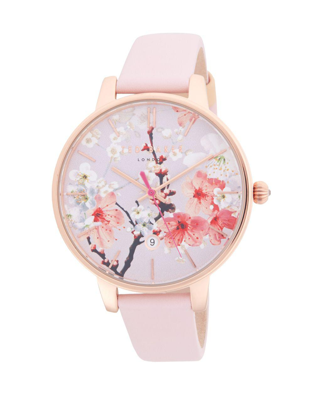 f053d2a75 Lyst - Ted Baker Floral Leather-strap Watch in Pink