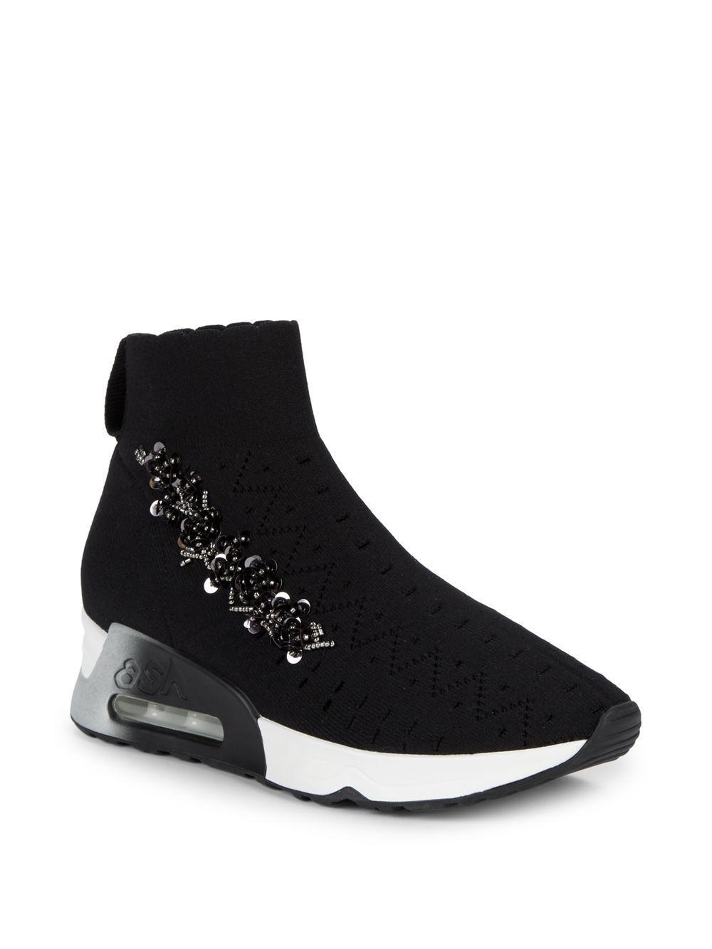 6a22babb92f39 Ash Embellished Sock Sneakers in Black - Lyst