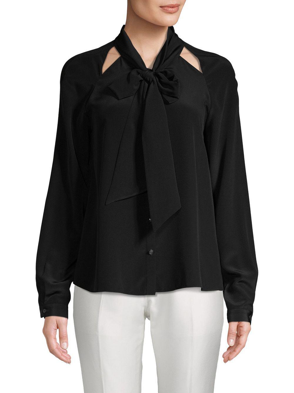 c3e9f242ba7bd0 Temperley London Purity Bow Silk Button-down Shirt in Black - Lyst