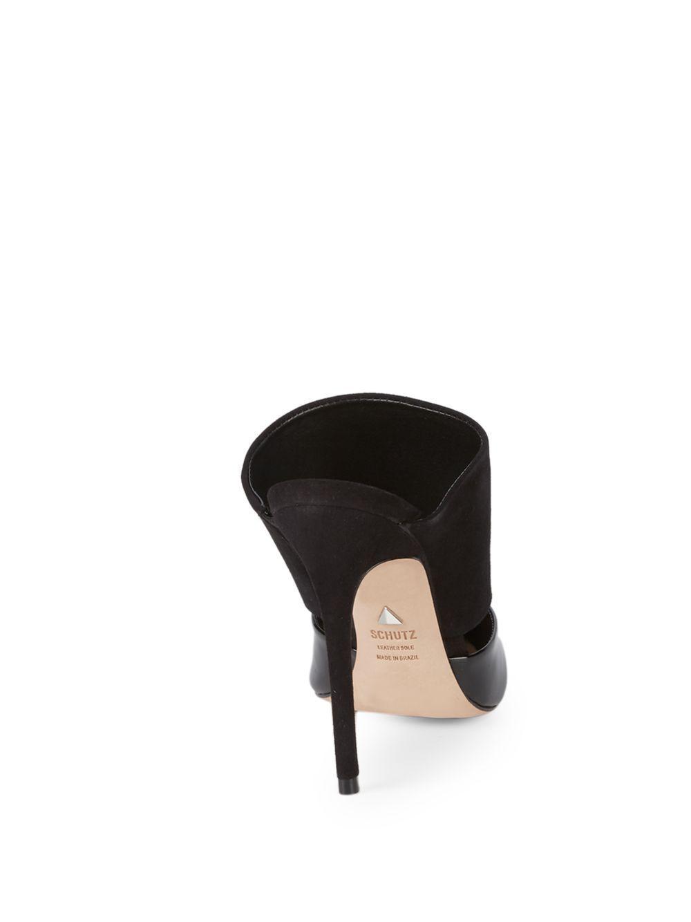 804e0aeb45022 Schutz Quereda Patent Leather & Suede Stiletto Mules in Black - Lyst