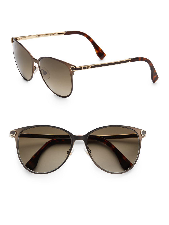 36b854852cca Lyst - Fendi 2jours Metal Cat s-eye Sunglasses in Brown