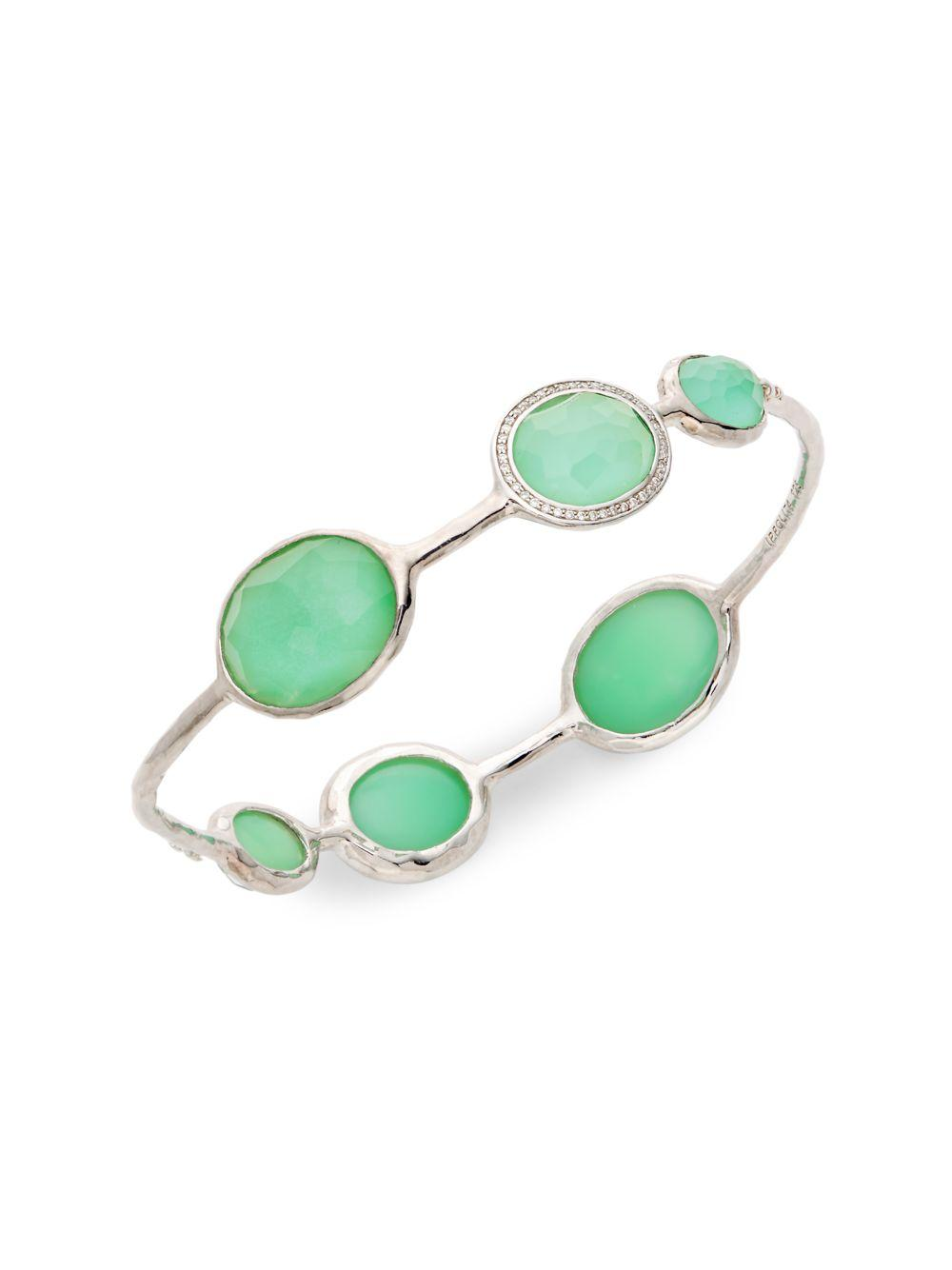 5b6ddce3890 Ippolita. Women's Metallic Lollipop Sterling Silver Clear Quartz &  Chrysoprase Diamond Bangle Bracelet