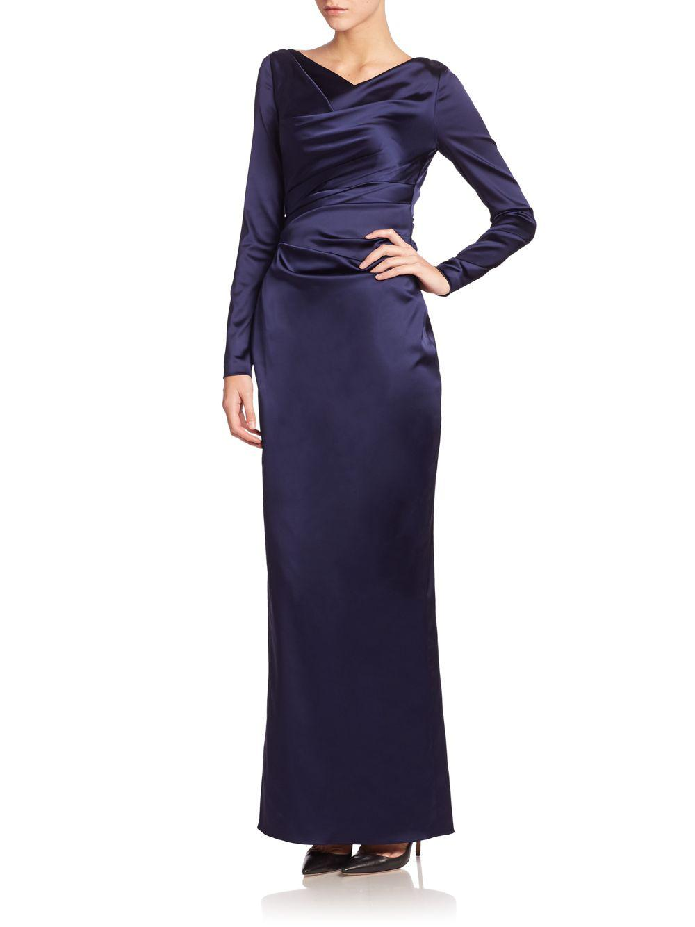90d6b1eccbeb6 Lyst - Talbot Runhof Stretch Satin Duchesse Gown in Blue