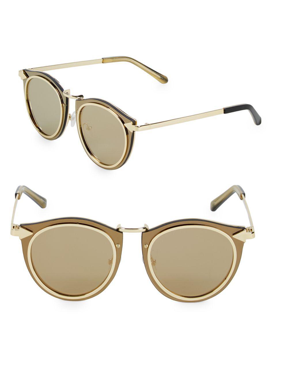 3d261275204 Lyst - Karen Walker Superstars Sola 63mm Round Sunglasses in Metallic