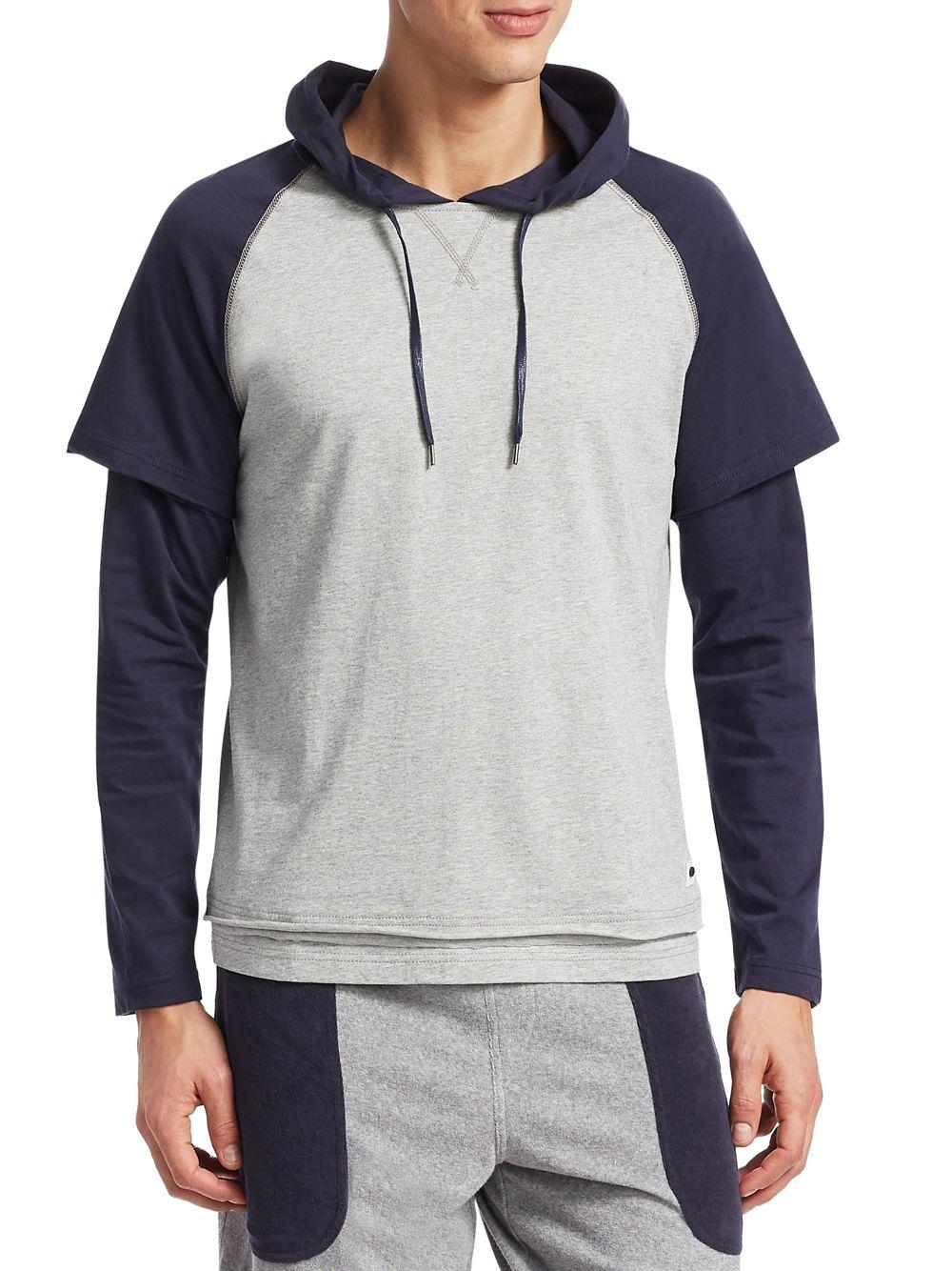 9d2c52b4 Madison Supply. Men's Gray Long-sleeve Colorblock Cotton Baseball Hoodie