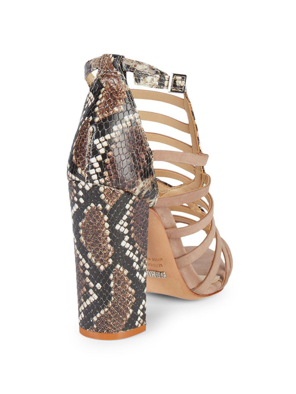 89c3717282a88 Lyst - Schutz Kaye Snake-skin Print Embossed Leather Block Heel Sandals