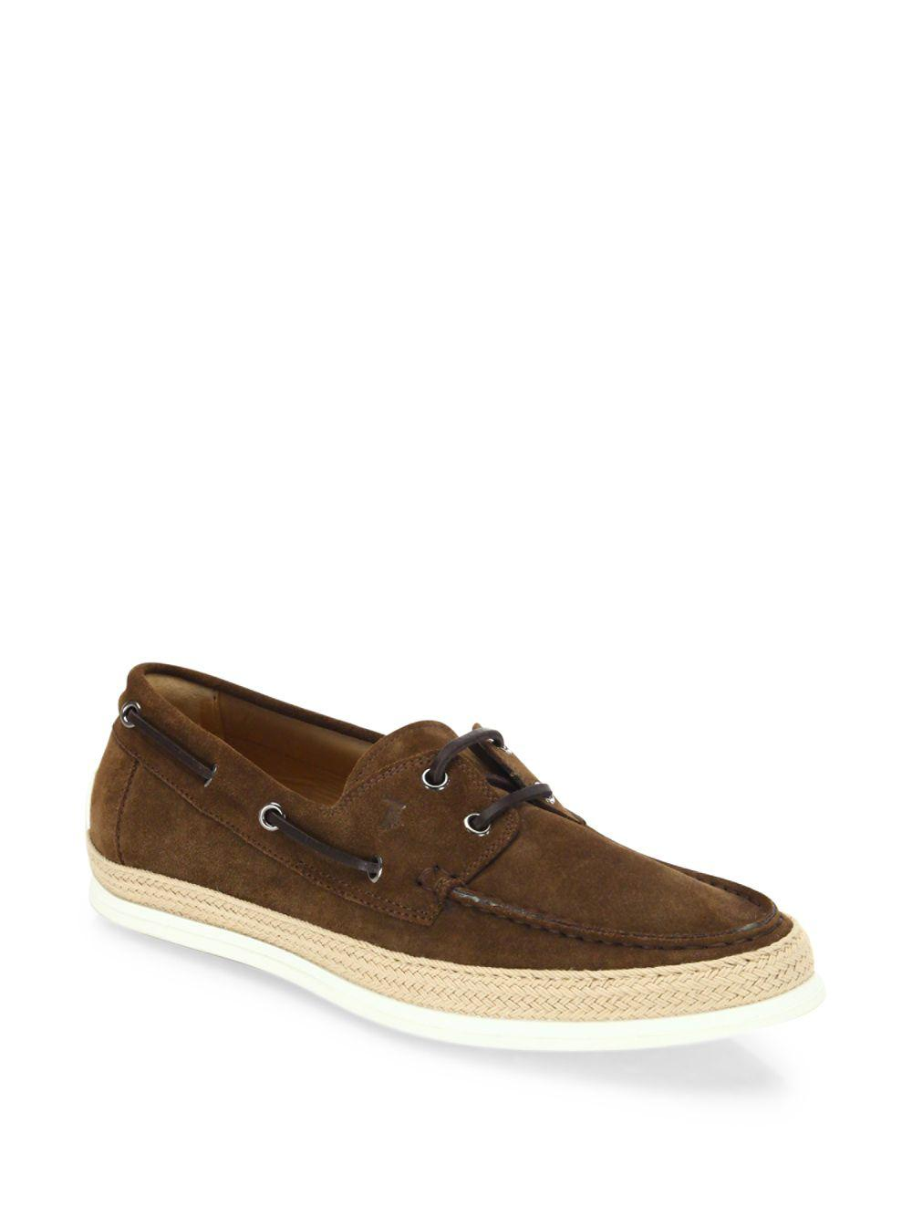 7d834ae86527f8 Tod s - Brown Suede Espadrille Boat Sneakers for Men - Lyst. View fullscreen