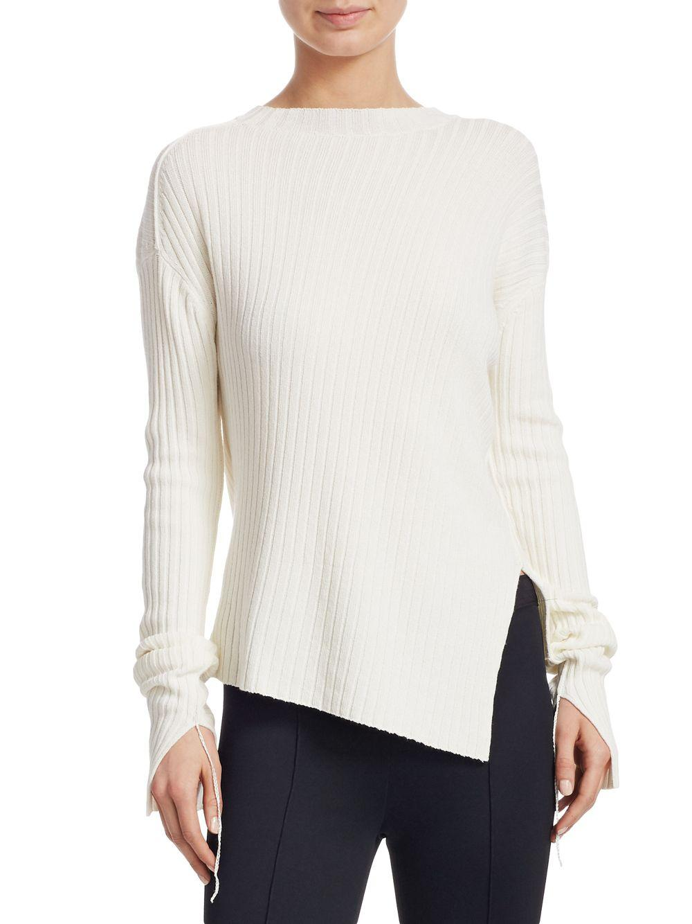93a2a87475347b Lyst - Helmut Lang Twisted Crewneck Sweater in White - Save 1%