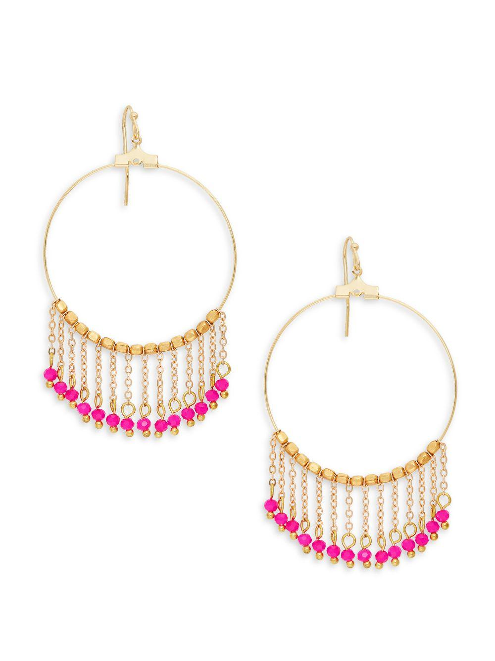 7379c79241485 Women's Pink Goldplated Crystal Chain Tassel Hoop Earrings
