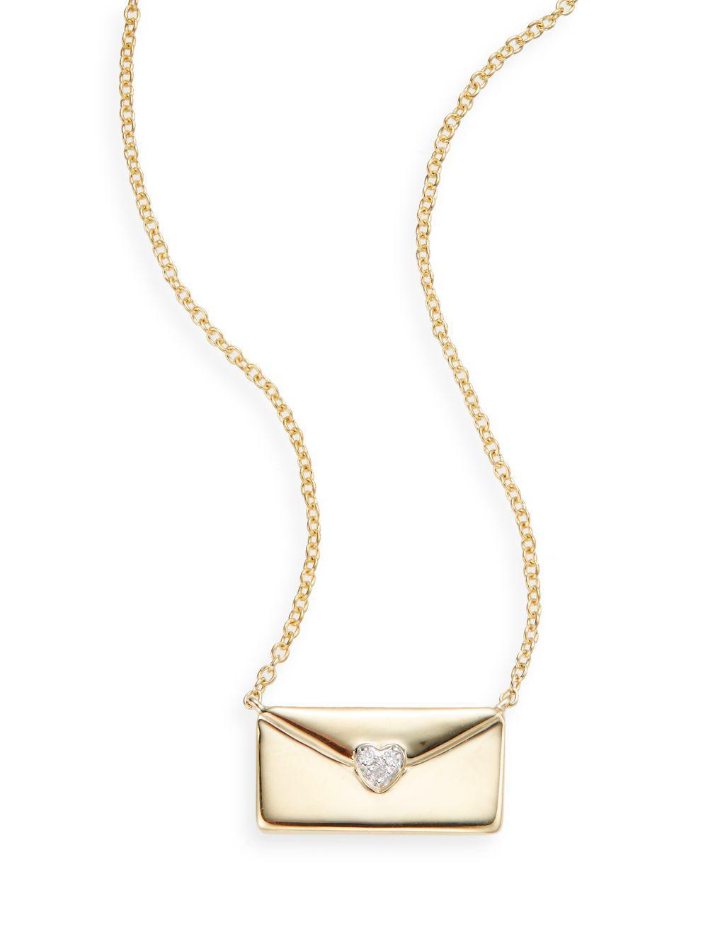 Saks Fifth Avenue Diamond & 15k Gold Love Letter Necklace ...