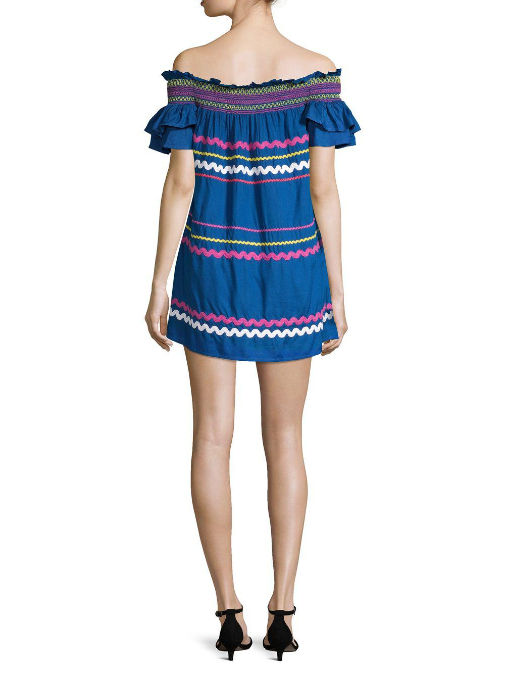 82ec7fcb Red Carter Marilyn Embroidered Ruffled Dress in Blue - Save 54% - Lyst