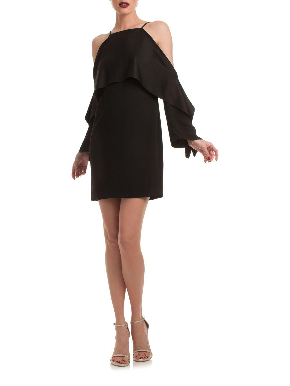 Trina Turk Women S Black Cold Shoulder Cape Dress