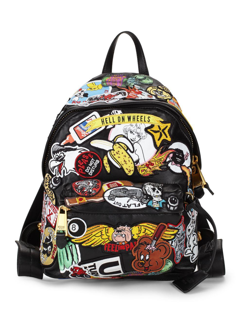 cafe1775fb Lyst - Moschino Multicolored Patch Backpack in Black