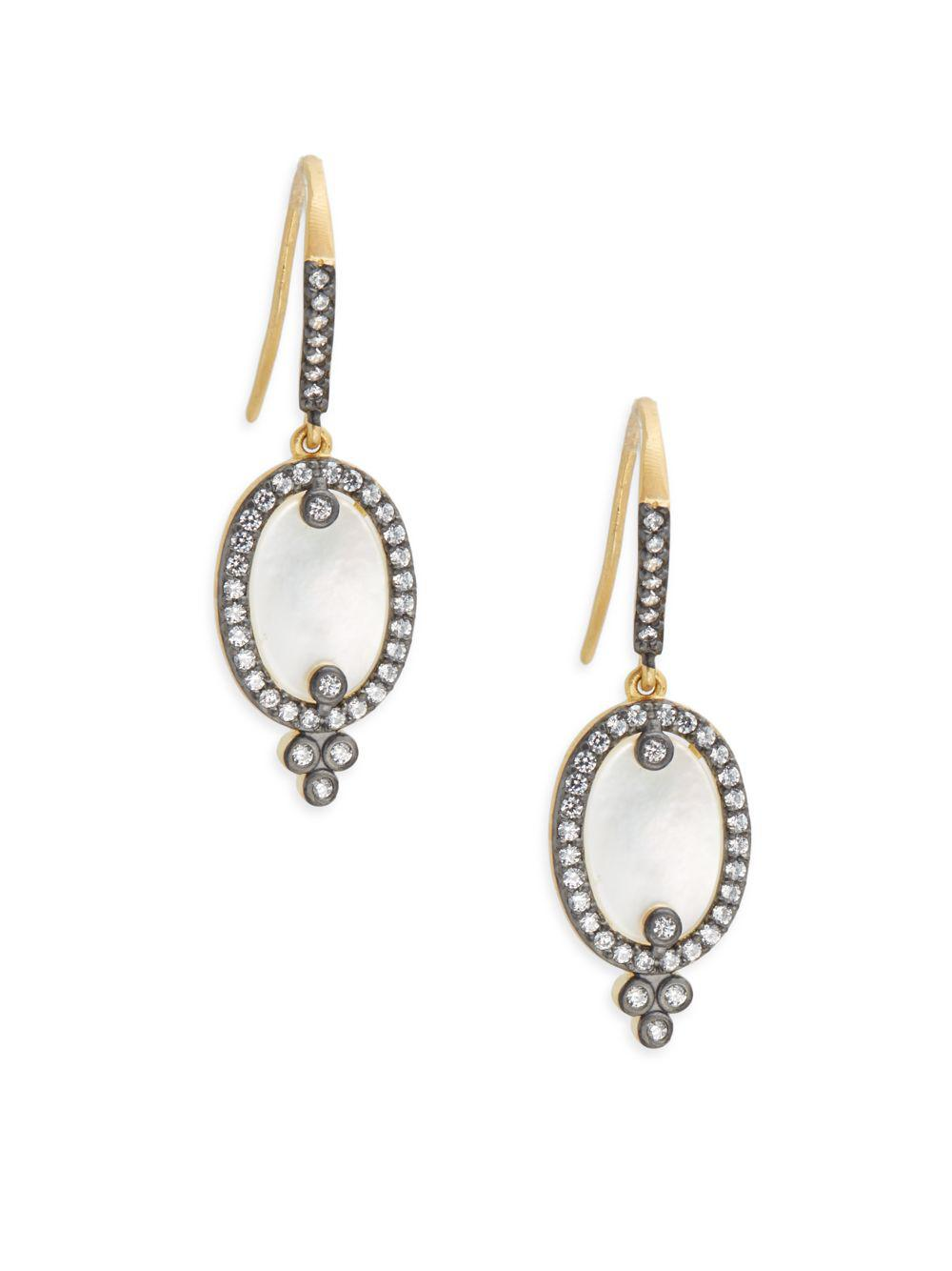 Freida Rothman Two Tone Pave Slice Drop Earrings 17Js6Cp6