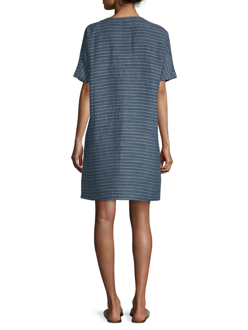 664eb92172 Eileen Fisher - Blue Striped Linen Tunic Dress - Lyst. View fullscreen