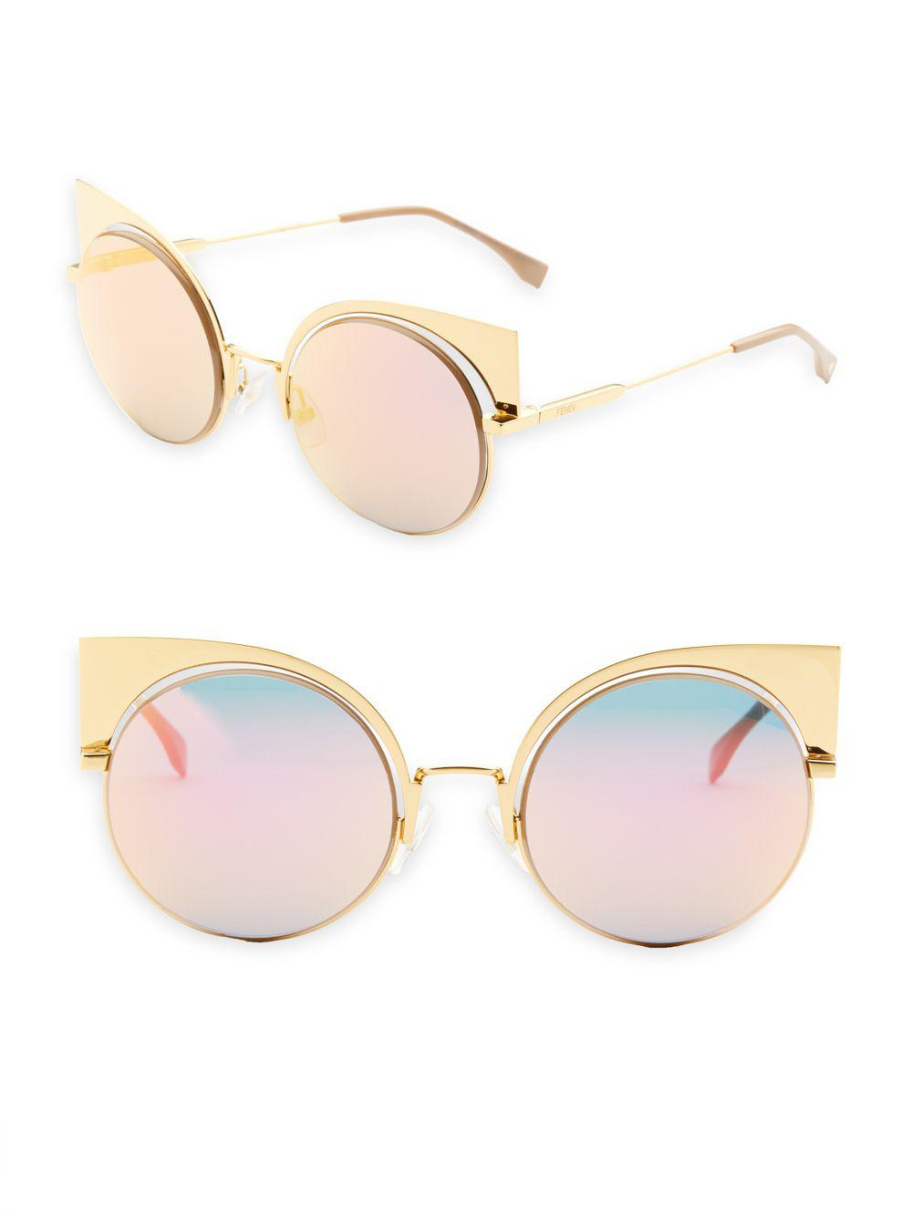 dae13ed9111e9 Lyst - Fendi 53mm Mirrored Cat s-eye Sunglasses in Pink