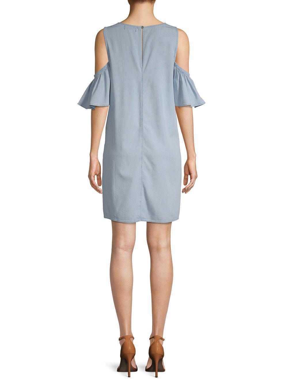 114270d81a2a91 ABS By Allen Schwartz - Blue Elbow-sleeve Cold-shoulder Dress - Lyst. View  fullscreen