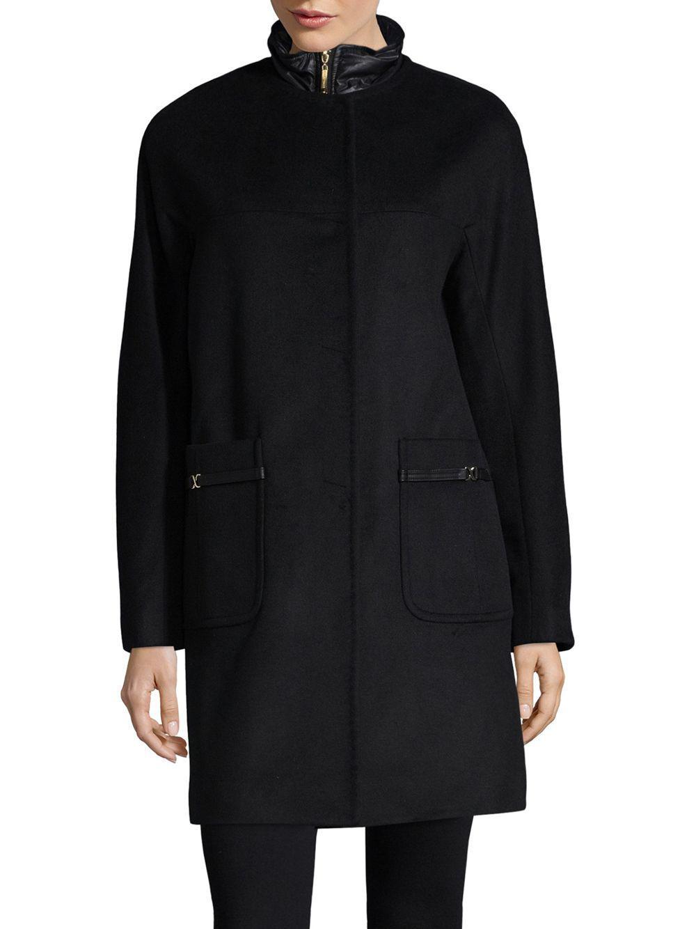 f806ac29298 Lyst - Ellen Tracy Wool Blend Topper Coat in Black