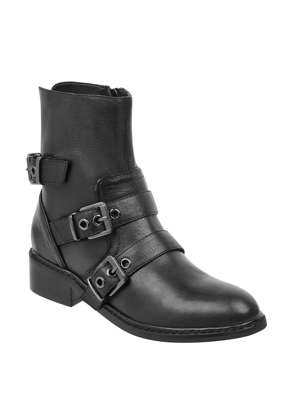 238a09cf339 Kendall + Kylie Nori Leather Biker Boots in Black - Lyst
