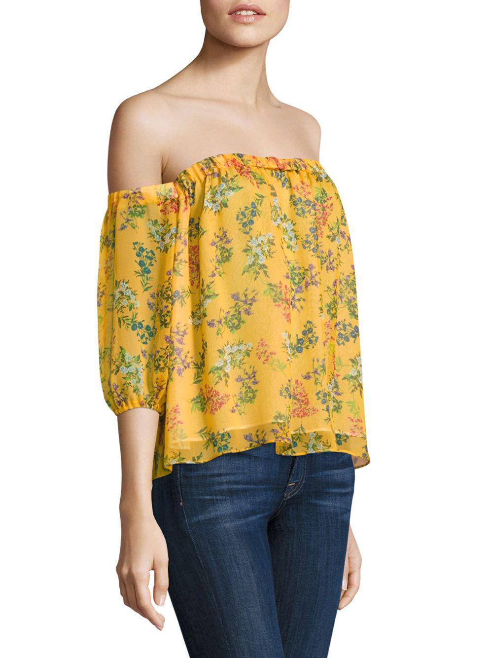 85002832c16d3 Lyst - Ella Moss Poetic Garden Silk Off-the-shoulder Top