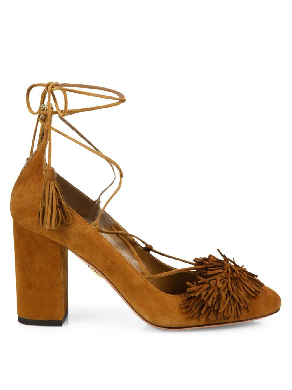 14e216691713 Lyst - Aquazzura Wild Fringed Suede Lace-up Block Heel Pumps in Brown