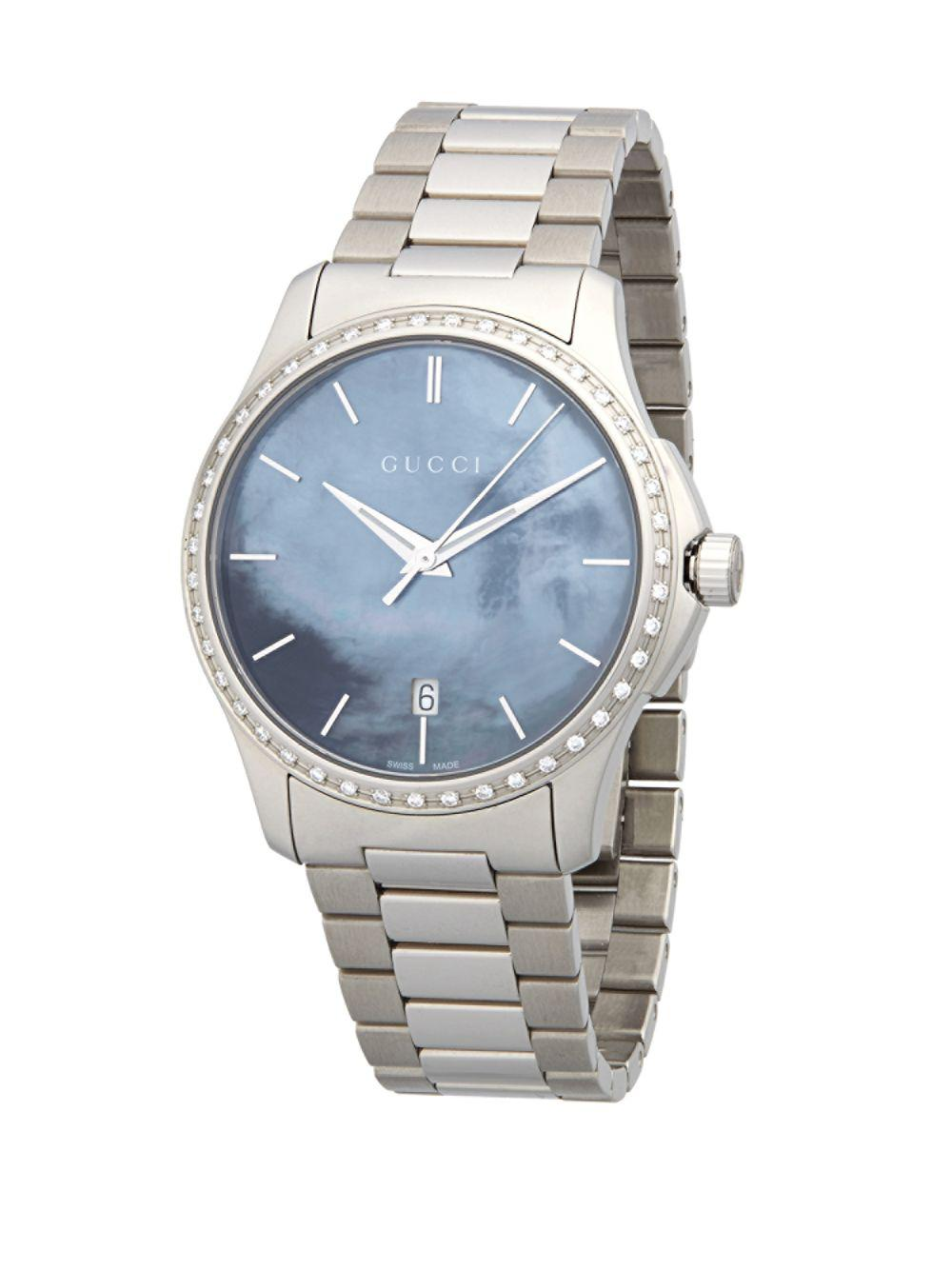 fd486754661 Lyst - Gucci Silvertone Mother-of-pearl Dial Watch in Metallic for Men