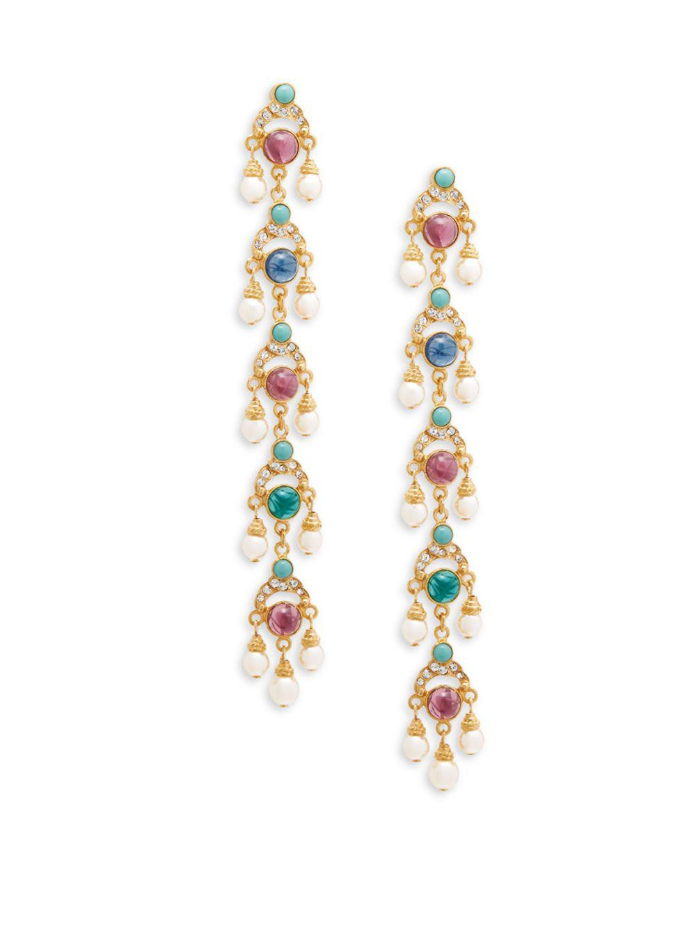 Ben-Amun. Women's Metallic Crystal And Faux Pearl Drop Earrings