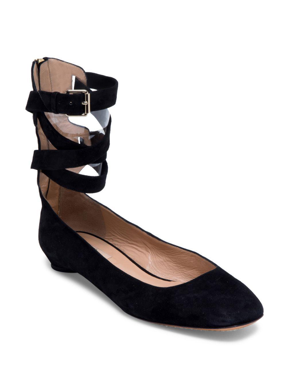 fd570e3421b5 Valentino - Black Suede Ankle Strap Ballerina Flats - Lyst. View fullscreen