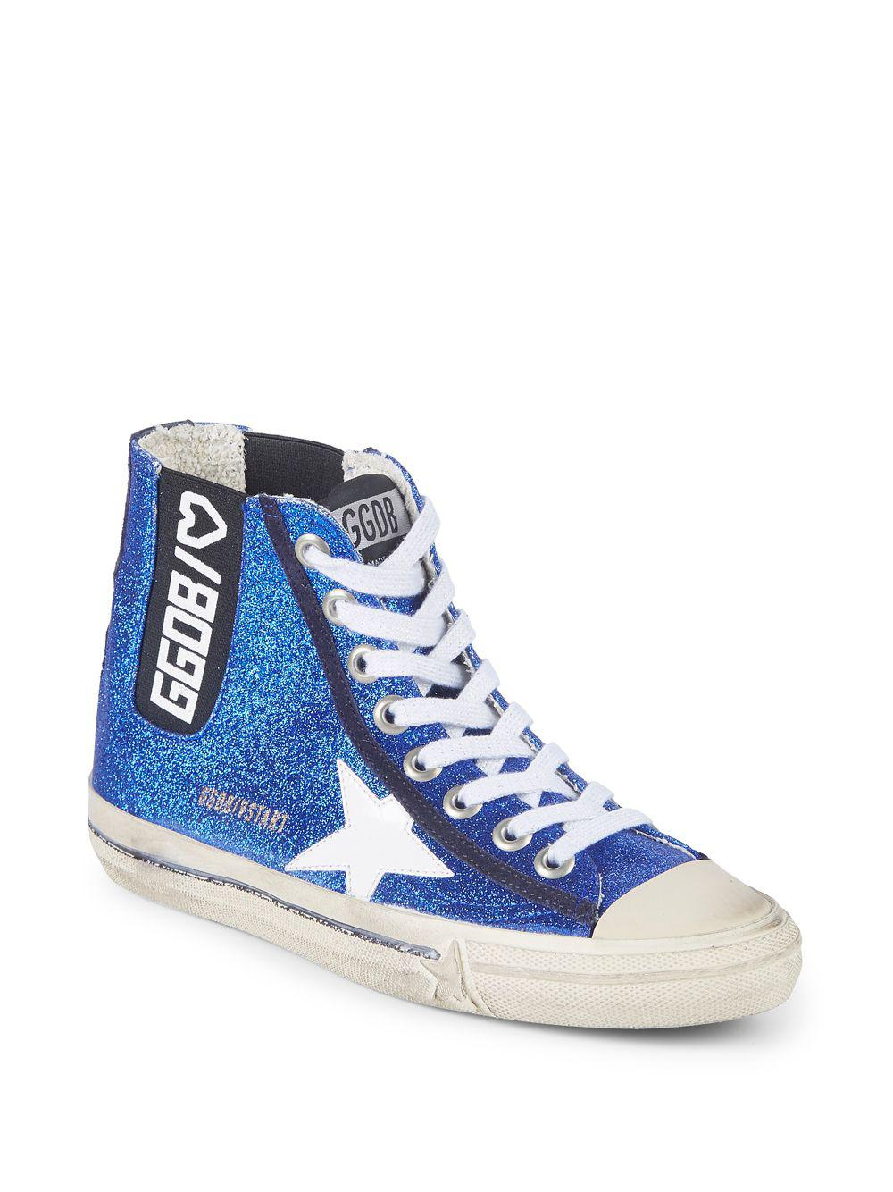 233cca7739b6 Golden Goose Deluxe Brand High-top Leather Logo Sneakers in Blue for ...