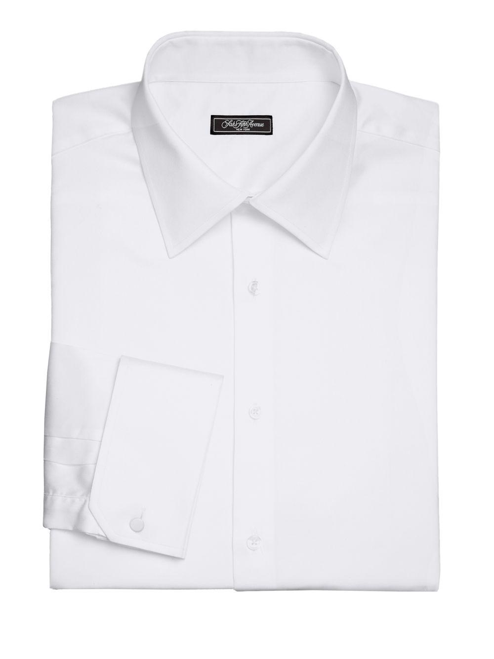 Lyst - Saks Fifth Avenue Regular-fit Solid Cotton Shirt in White for Men