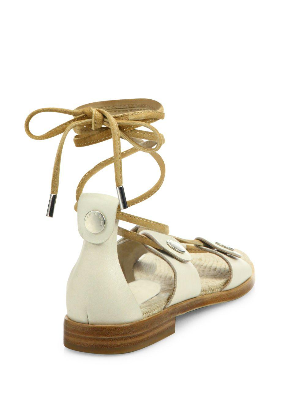 903b239f1af0 Rag   Bone City Leather Lace-up Sandals in White - Save 62% - Lyst