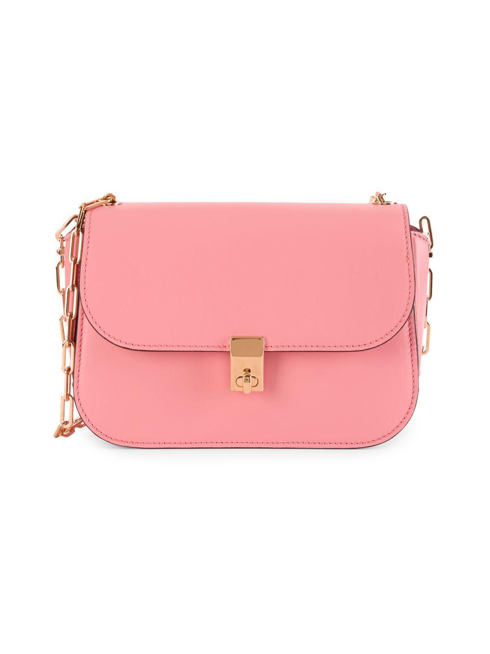 a09ad192685 Valentino Chain Strap Leather Crossbody Bag in Pink - Lyst
