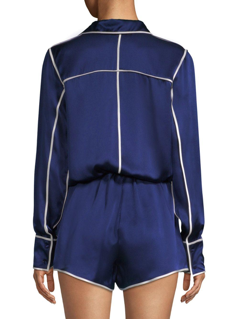 509b3fb742e3 Alexis Lareyne Twist Silk Pajama Romper in Blue - Save 20% - Lyst