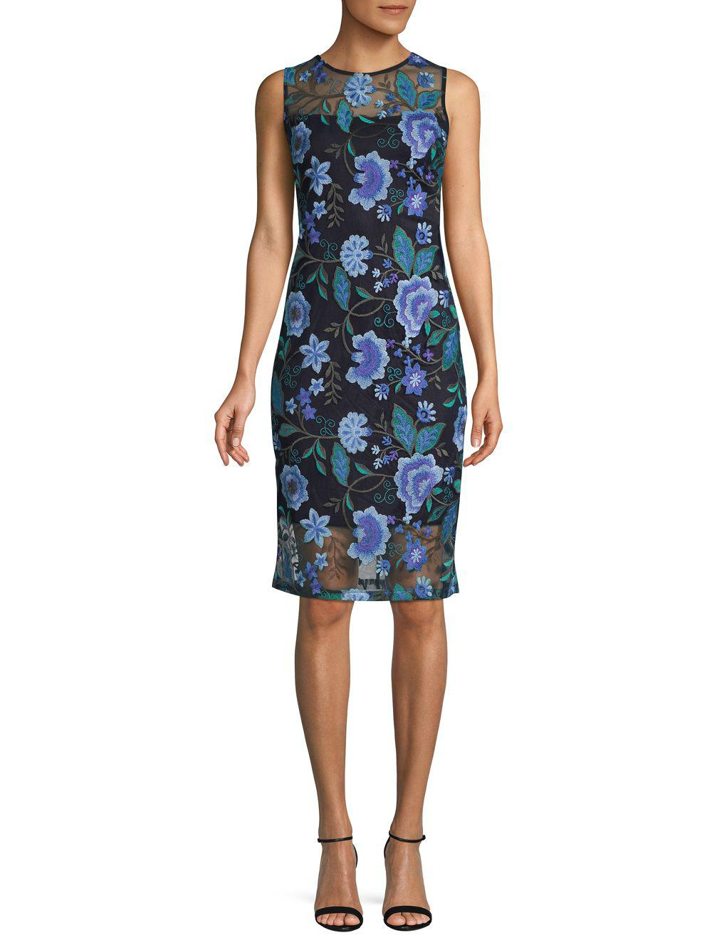 5f56ea8a Calvin Klein Sleeveless Floral Embroidered Sheath Dress in Blue - Lyst
