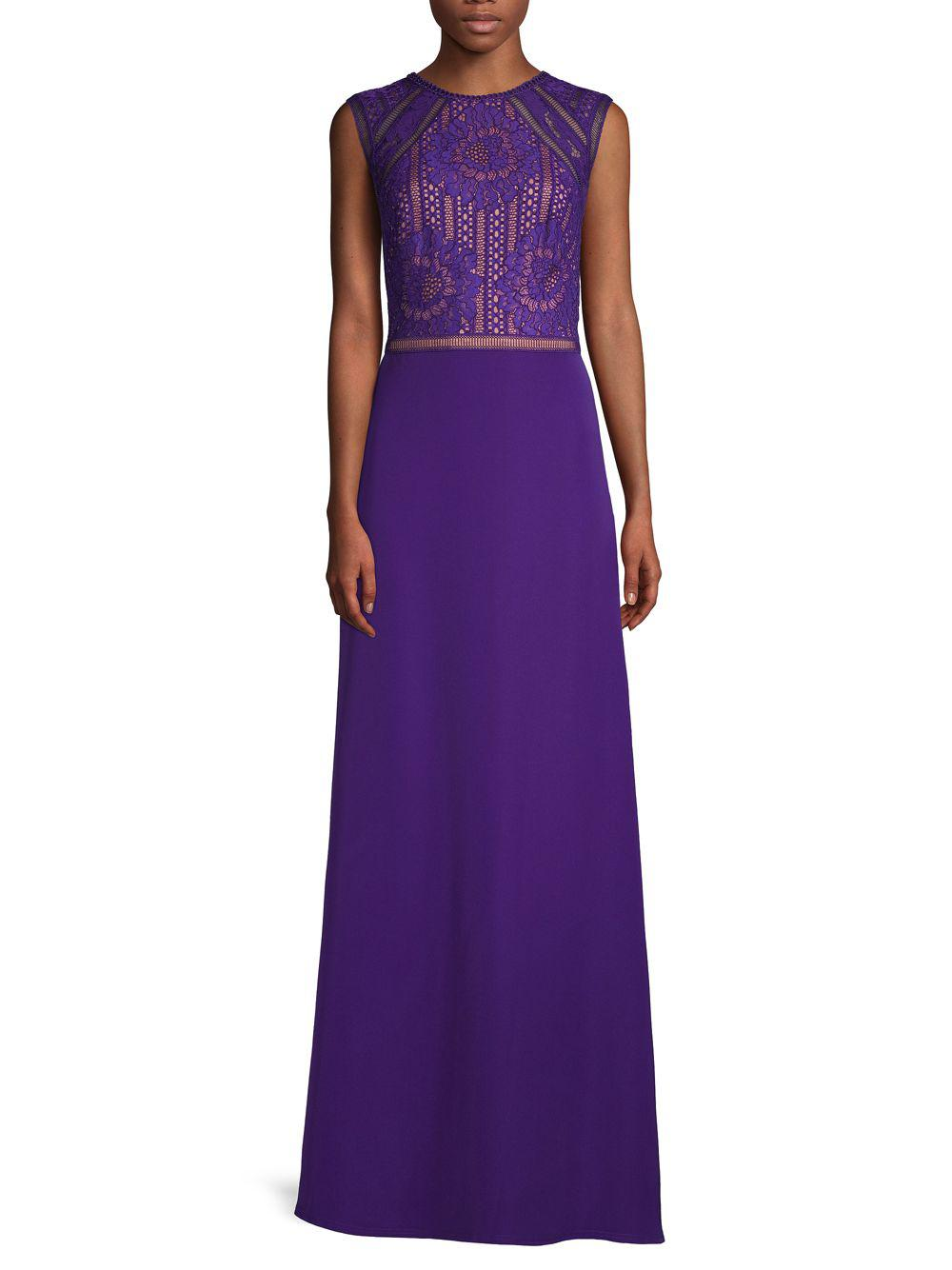 Lyst - Tadashi Shoji Embroidered Lace Sleeveless Gown in Purple ...