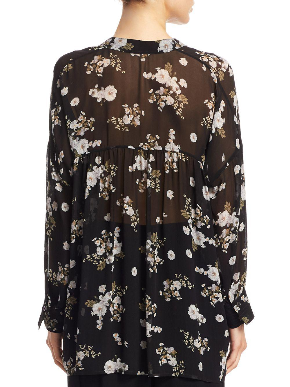 e6469b9684377 Lyst - Vince Tossed Floral Shirred Silk Blouse in Black - Save 71%
